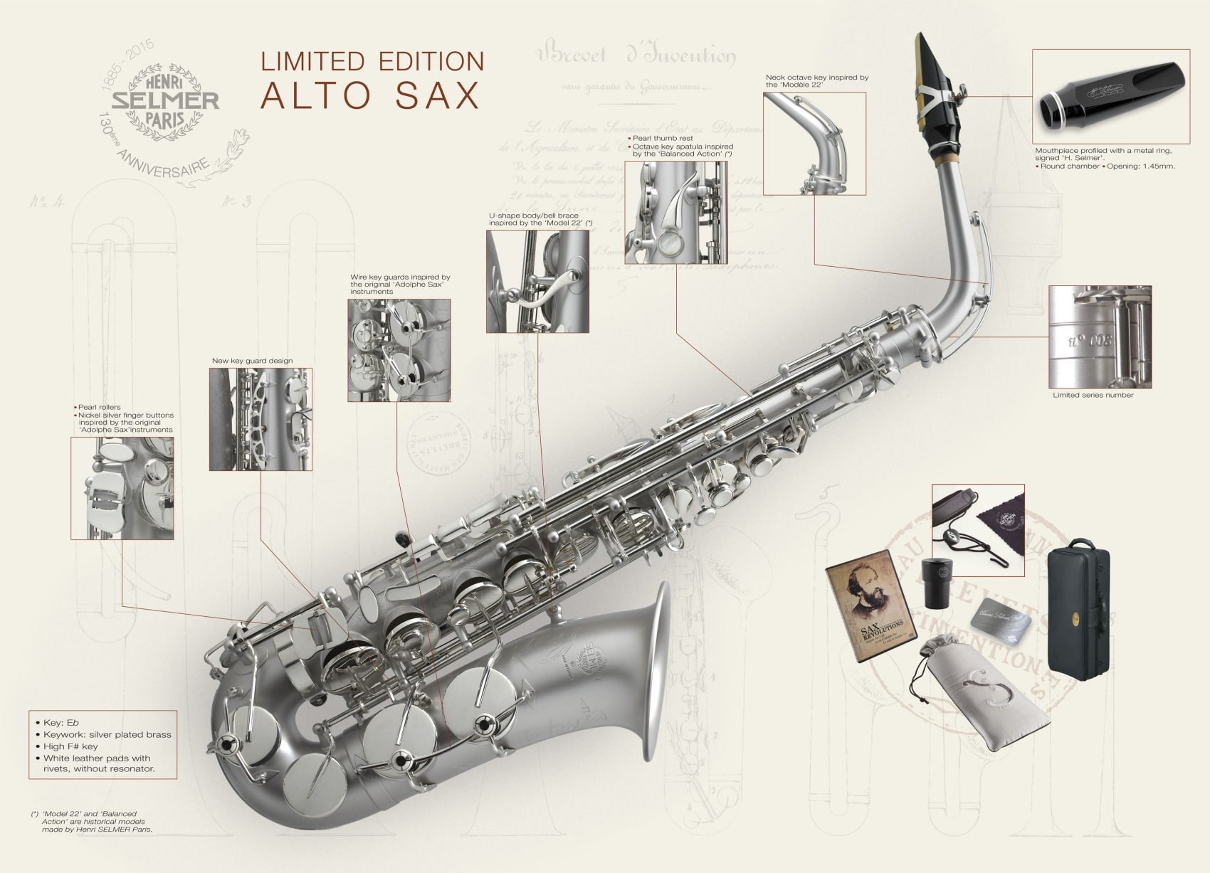 Selmer paris 130th anniversary adolpe sax tribute alto saxophone